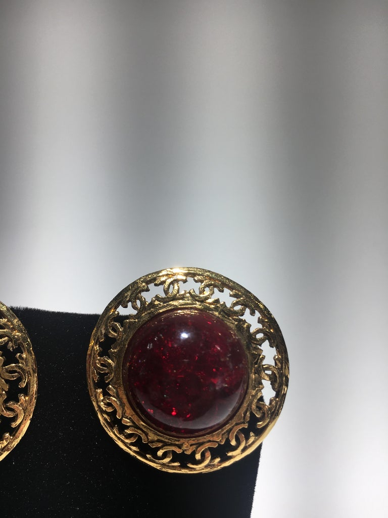 Classical Roman Chanel Red Gripoix Gold Clip Earrings With Original Box. For Sale
