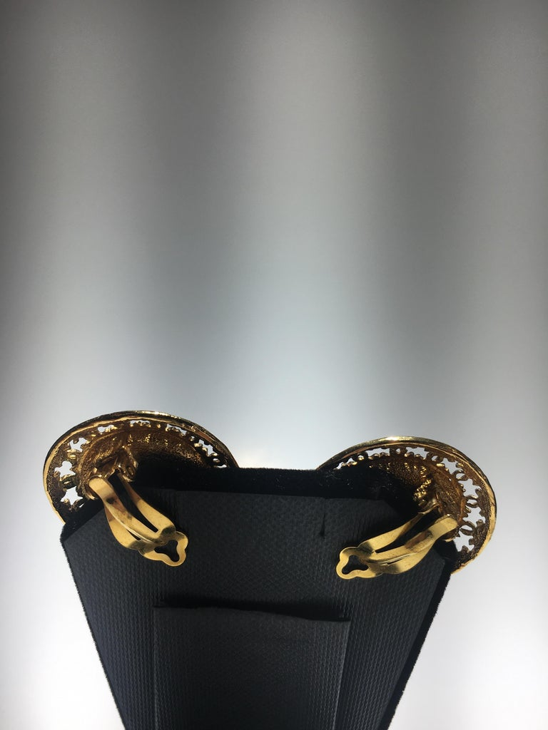 Chanel Red Gripoix Gold Clip Earrings With Original Box. In Excellent Condition For Sale In Buchanan, MI