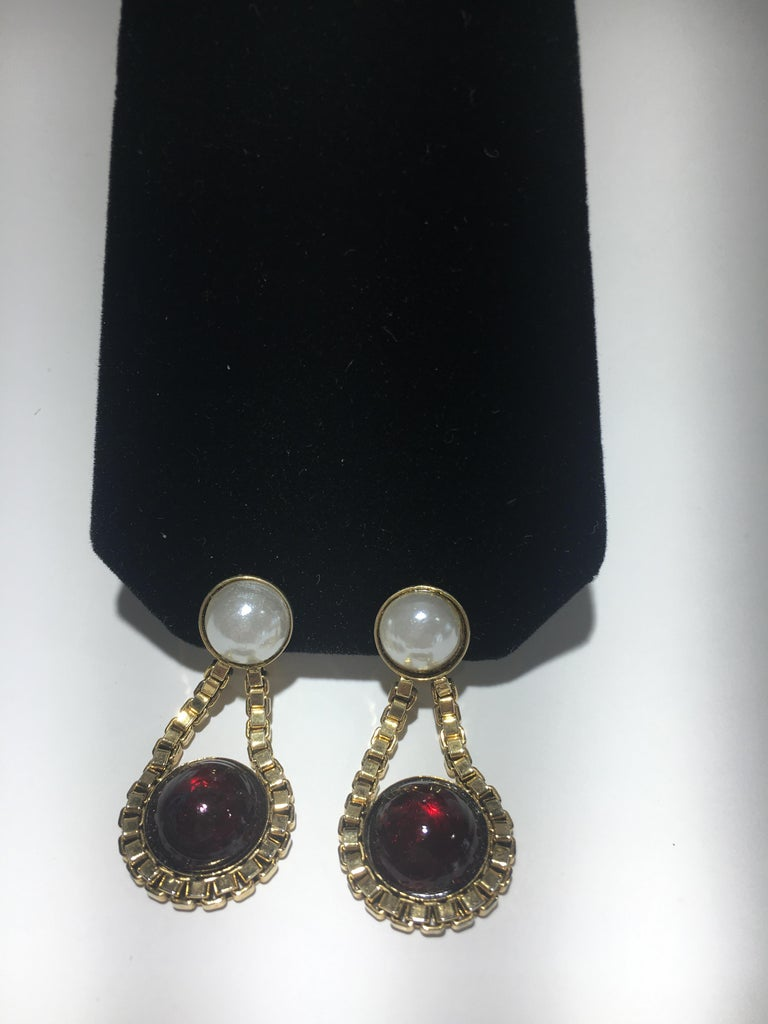 Chanel Red Gripoix Gold Clip Earrings With Original Box. For Sale 1