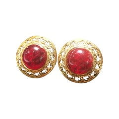 Chanel Red Gripoix Gold Clip Earrings With Original Box.