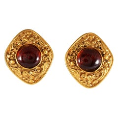 Chanel Red Gripoix Vintage Earrings