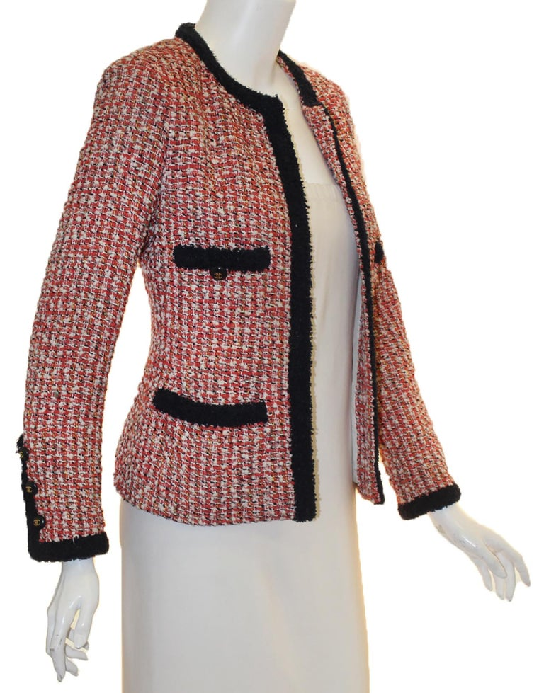 Chanel Red, Ivory & Navy Tweed Jacket With Navy Trim In Excellent Condition For Sale In Palm Beach, FL