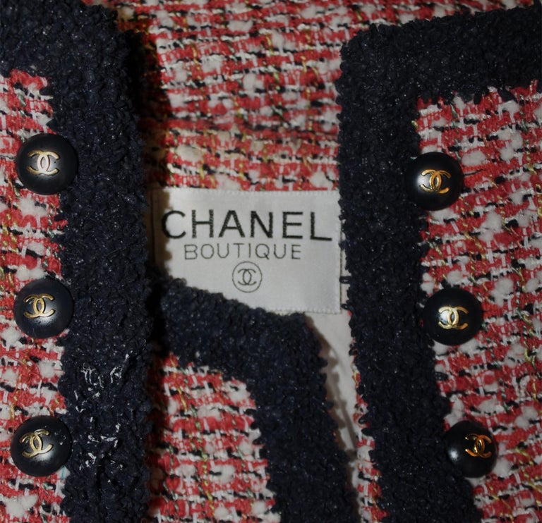 Women's Chanel Red, Ivory & Navy Tweed Jacket With Navy Trim For Sale