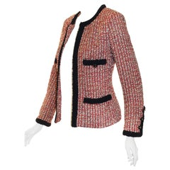 Chanel Red, Ivory & Navy Tweed Jacket With Navy Trim