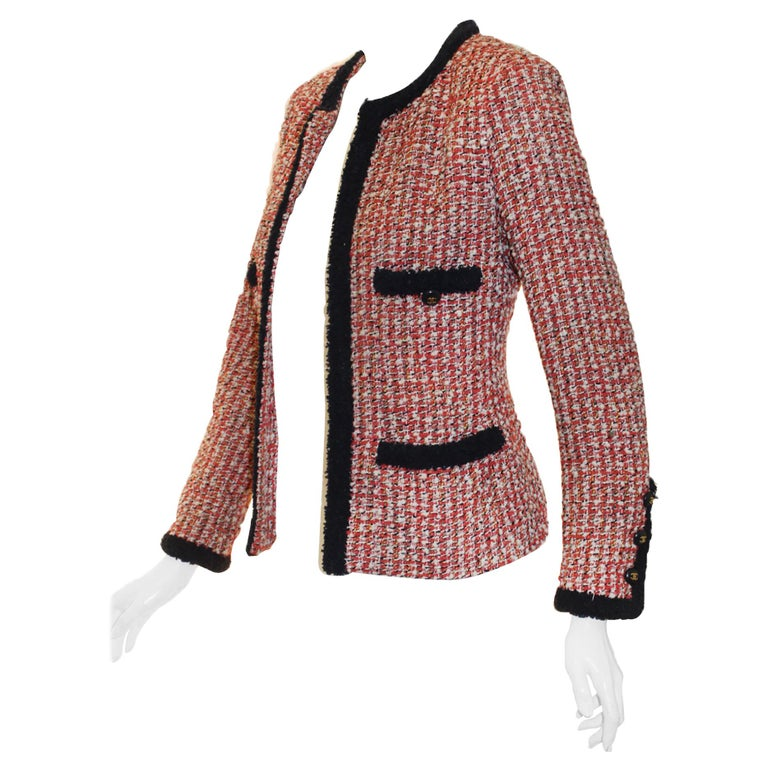Chanel Red, Ivory & Navy Tweed Jacket With Navy Trim For Sale