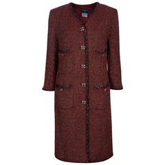 Chanel Red Knee Length Tweed Jacket XXL