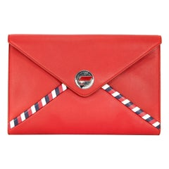 Chanel Red Lambskin Airlines Envelope Clutch