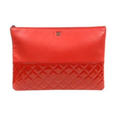 Chanel Red Lambskin and Patent Leather Clutch