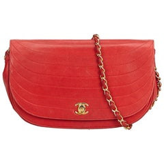 Chanel Red Lambskin Chain Shoulder Bag