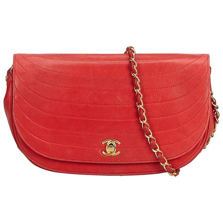 015778e7f80db Chanel Lammleder rote Kette Umhängetasche im Angebot bei 1stdibs