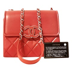 Chanel Red Lambskin Double Gusset Flap Bag