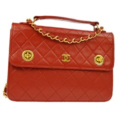 Chanel Red Lambskin Dual Turnlock Top Handle Satchel Shoulder Flap Bag