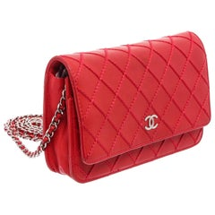 Chanel Red Lambskin Leather Diamond Stitch WOC Wallet On Chain