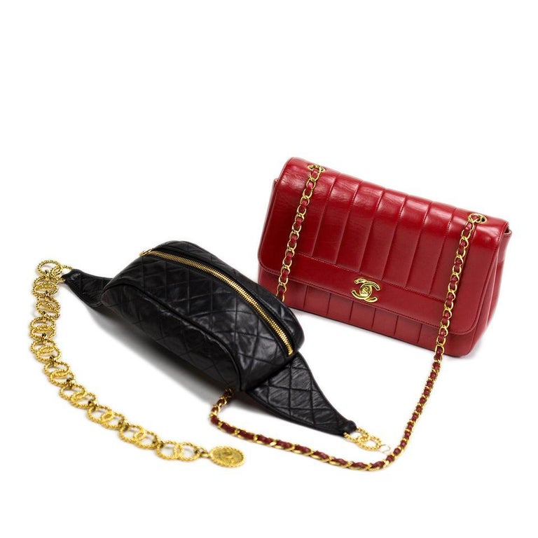 Chanel Red Lambskin Stripe Diana Medium Vintage Classic Flap Bag  For Sale 4