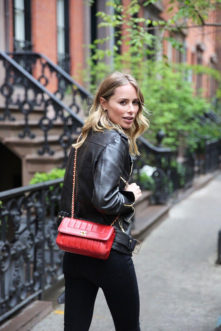 Chanel Red Lambskin Stripe Diana Medium Vintage Classic Flap Bag  For Sale 3