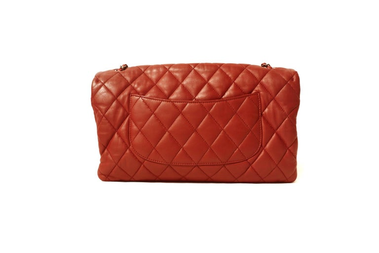 Chanel Red Lambskin Triple Accordion Flap Bag In Excellent Condition In Palm Beach, FL