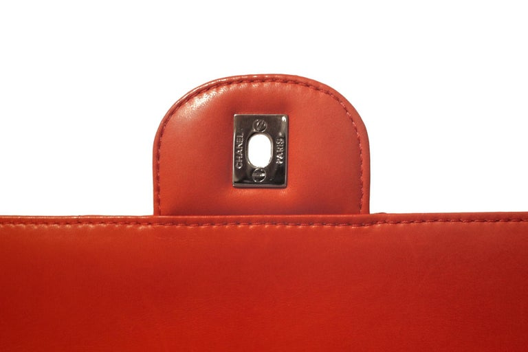 Chanel Red Lambskin Triple Accordion Flap Bag 1