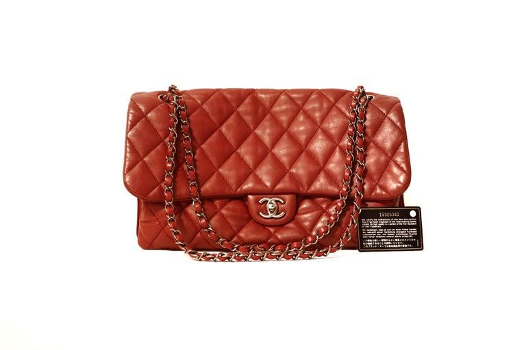Chanel Red Lambskin Triple Accordion Flap Bag 2