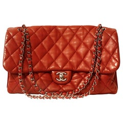 Chanel Red Lambskin Triple Accordion Flap Bag