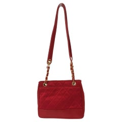 Chanel red leather and fabric shoulder bag
