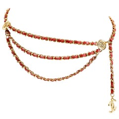 Chanel Red Leather and Gold Chain Vintage Belt