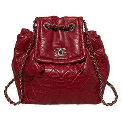 Chanel Red Leather Bejing Backpack Shoulder Bag