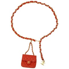 Chanel red leather belt with micro bag