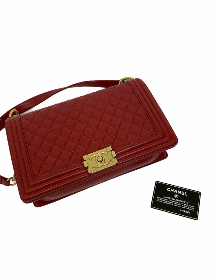 Chanel Red Leather Boy Bag For Sale 6