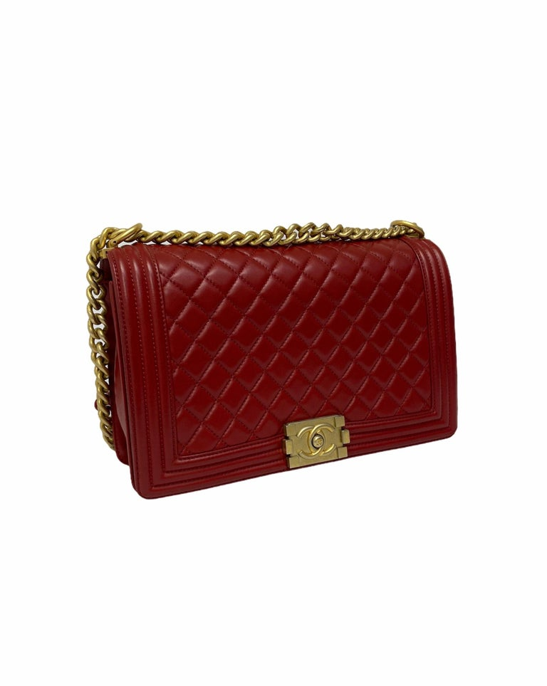 Chanel Red Leather Boy Bag In Excellent Condition For Sale In Torre Del Greco, IT