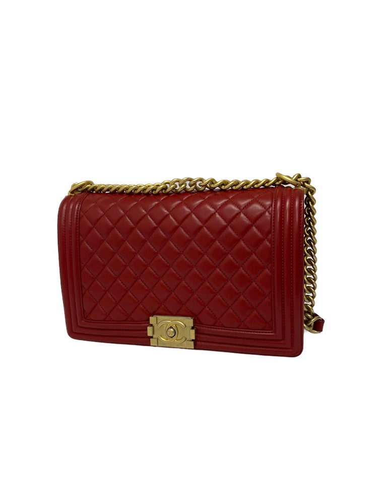 Women's Chanel Red Leather Boy Bag For Sale