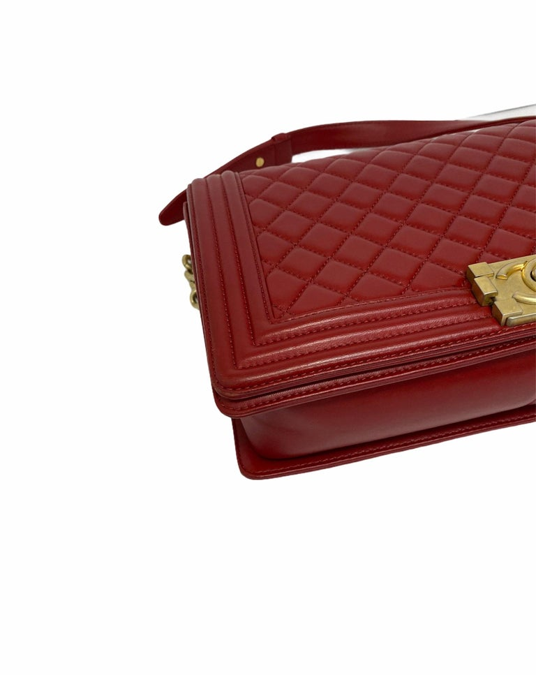 Chanel Red Leather Boy Bag For Sale 2