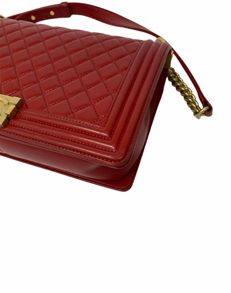 Chanel Red Leather Boy Bag For Sale 3