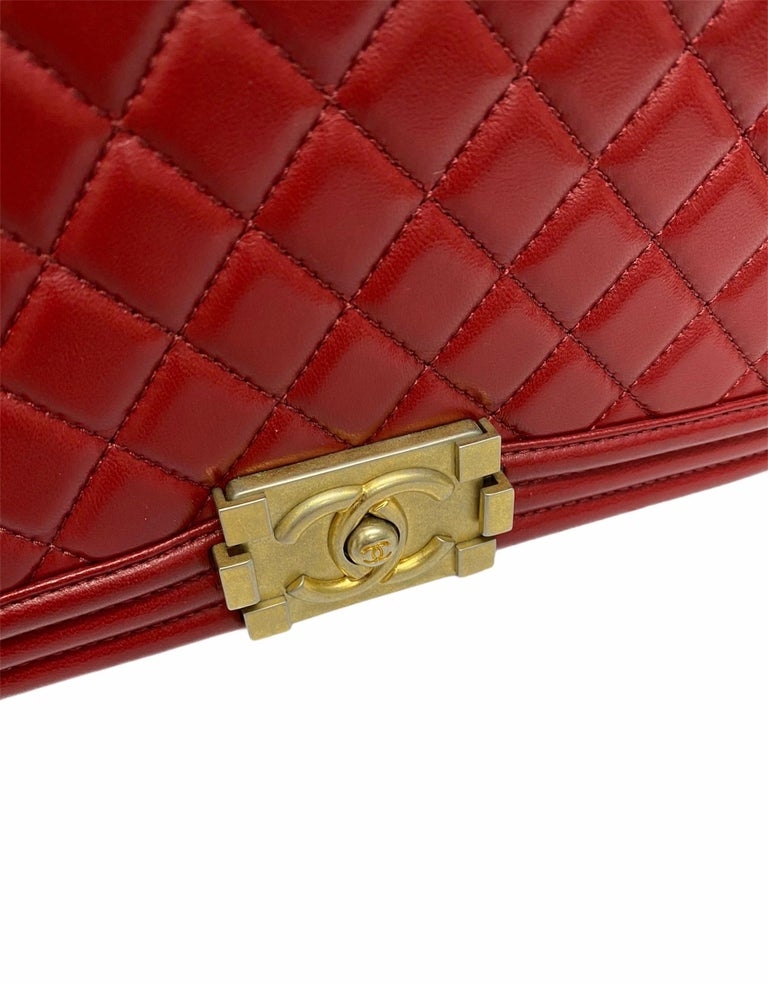 Chanel Red Leather Boy Bag For Sale 4