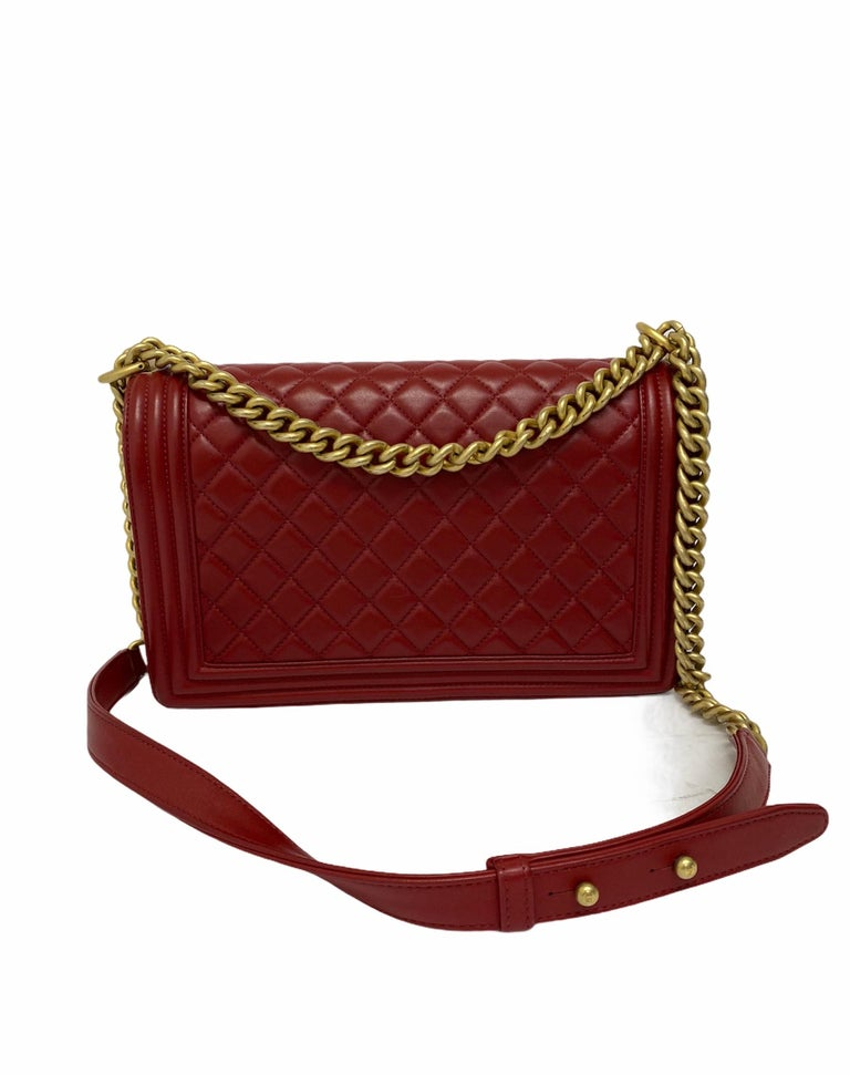 Chanel Red Leather Boy Bag For Sale 5