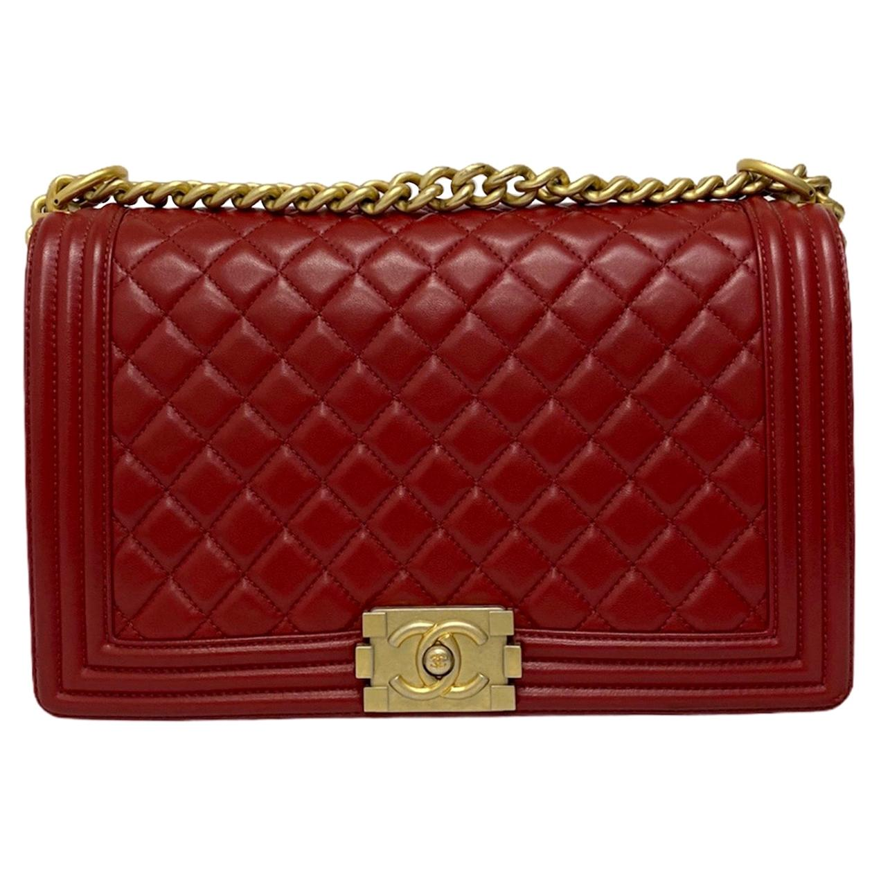 Chanel Red Leather Boy Bag