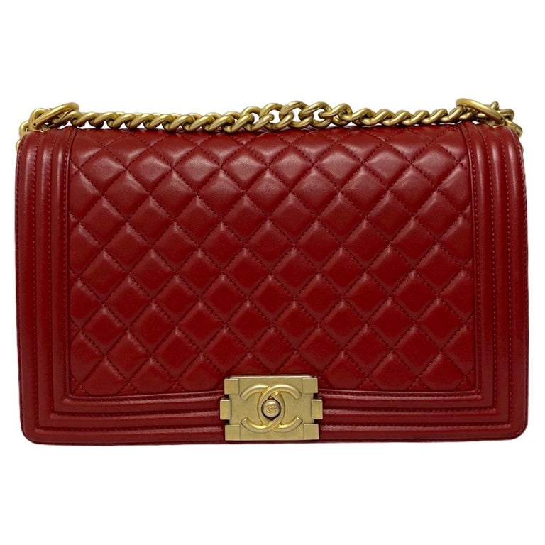 Chanel Red Leather Boy Bag For Sale