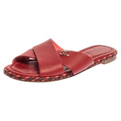 Chanel Red Leather Braided Trim Criss Cross CC Flat Slides Size 36