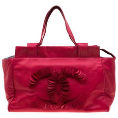 Chanel Red Leather CC Discs Tote