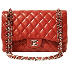 Chanel Red Leather Classic Double Flap