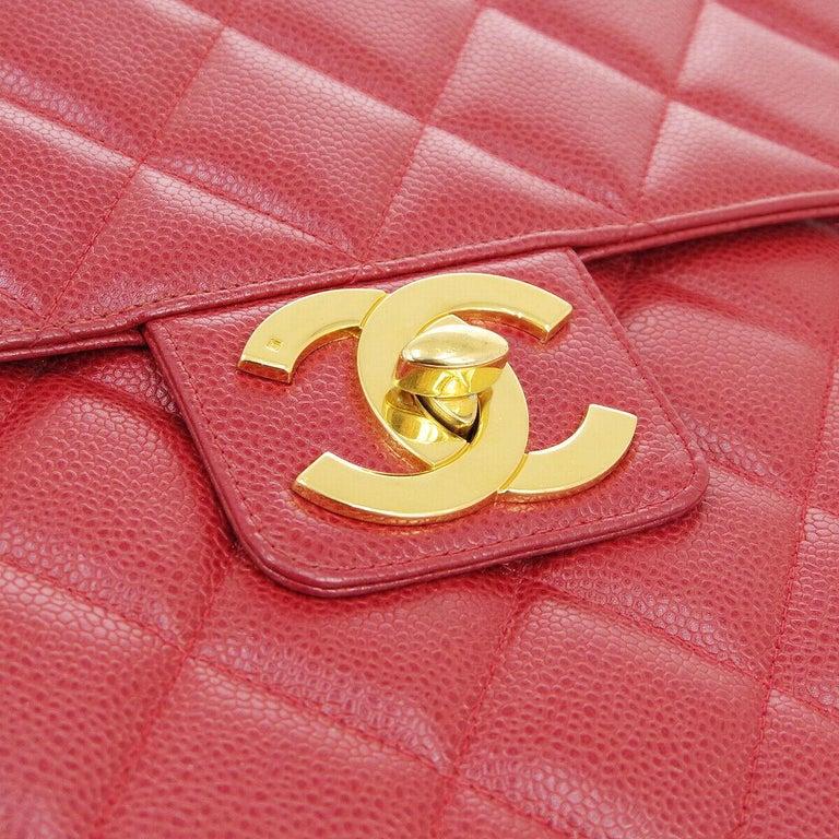 Caviar leather Gold tone hardware Turnlock closure Handle drop 4