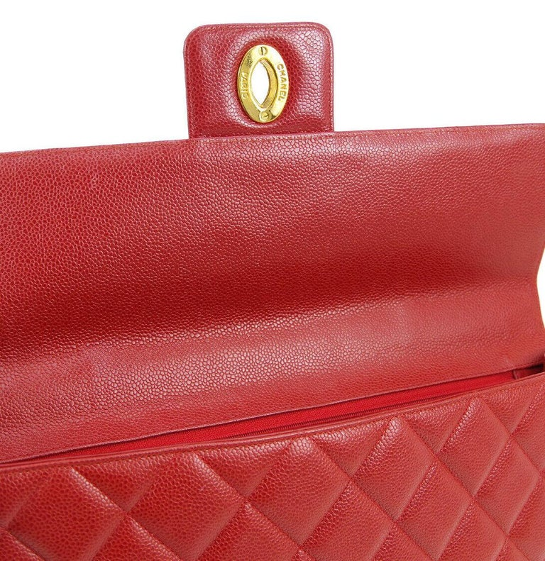 Chanel Red Leather Gold Carryall Business Top Handle Travel Brief Briefcase Bag In Good Condition In Chicago, IL