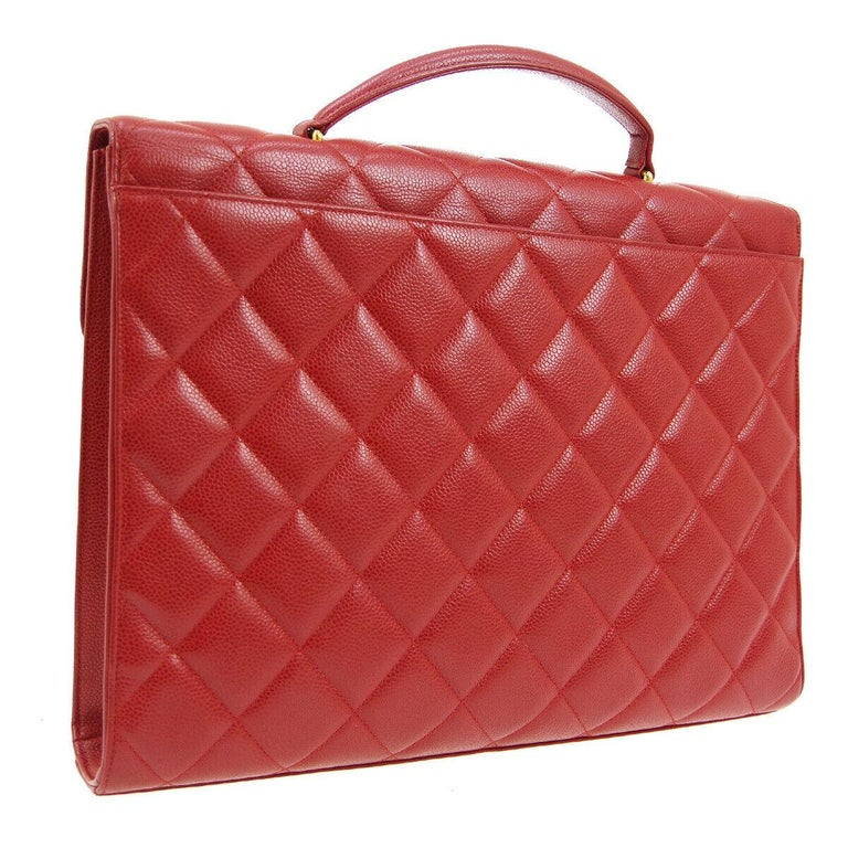 Women's Chanel Red Leather Gold Carryall Business Top Handle Travel Brief Briefcase Bag