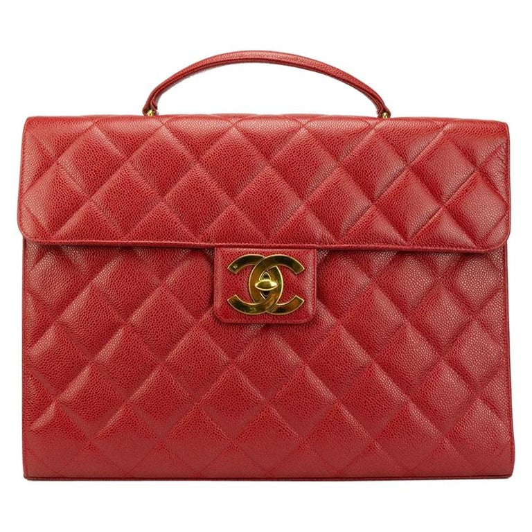 Chanel Red Leather Gold Carryall Business Top Handle Travel Brief Briefcase Bag