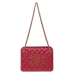 Chanel red leather gold hardware shoulder bag