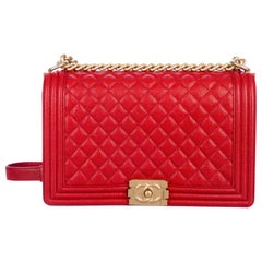 Chanel Red Leather Gold Jumbo Large Boy Evening Shoulder Bag in Box