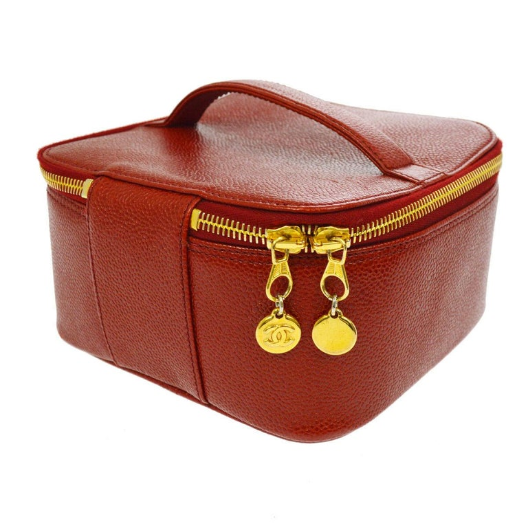Women's Chanel Red Leather Gold Travel Train Cosmetic Vanity Jewelry Case Bag For Sale