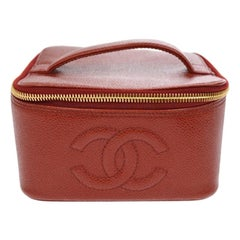 Chanel Red Leather Gold Travel Train Cosmetic Vanity Jewelry Case Bag