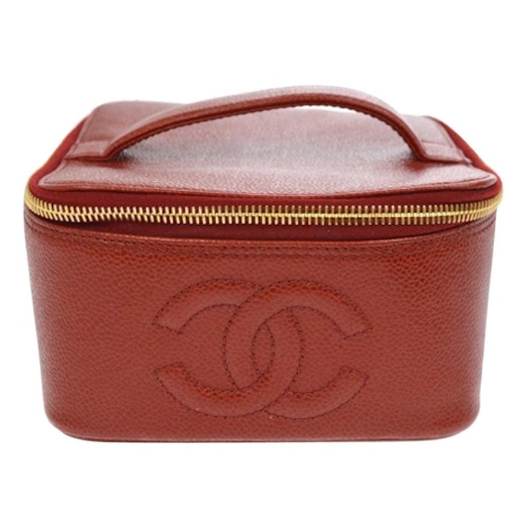 Chanel Red Leather Gold Travel Train Cosmetic Vanity Jewelry Case Bag For Sale