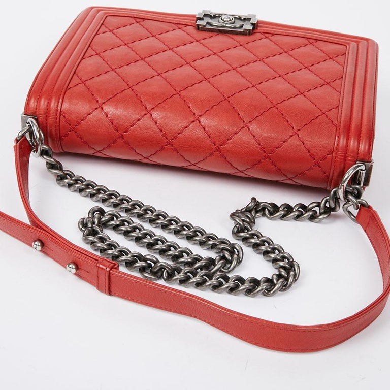 CHANEL Red Leather Large Boy Bag  For Sale 6