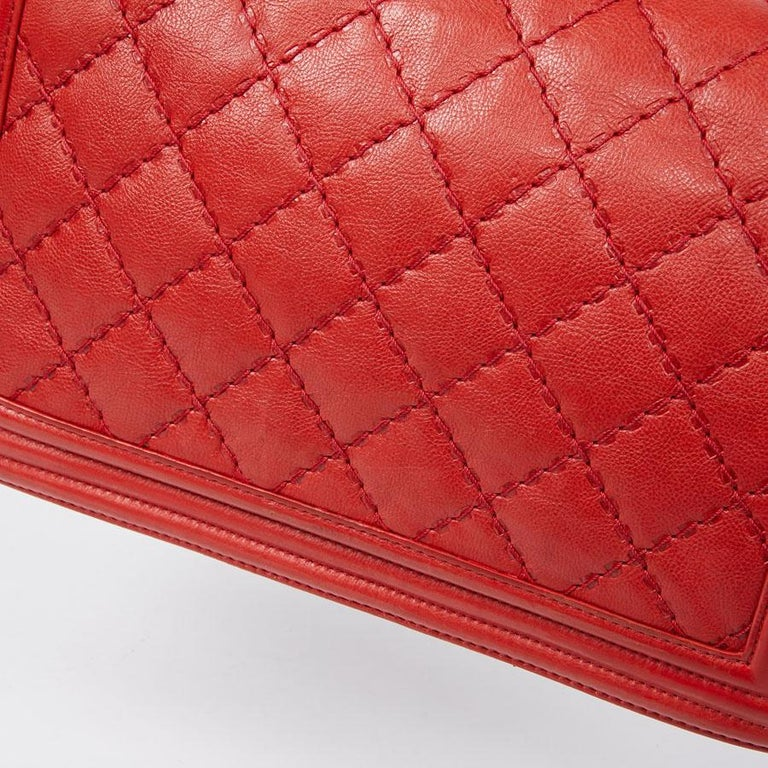 CHANEL Red Leather Large Boy Bag  For Sale 8